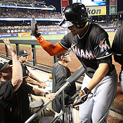 NEW YORK, NEW YORK - July 05: Giancarlo Stanton #27 of the Miami Marlins celebrates with team mates on his return to the dugout after hitting a three run home run in the eighth inning during the Miami Marlins Vs New York Mets regular season MLB game at Citi Field on July 05, 2016 in New York City. (Photo by Tim Clayton/Corbis via Getty Images)
