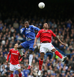 LONDON, ENGLAND - Sunday, January 28, 2007: Chelsea's Michael Essien in action against Nottingham Forest's Junior Agogo during the FA Cup 4th Round match at Stamford Bridge. Chelsea won 3-0. (Pic by Chris Ratcliffe/Propaganda)