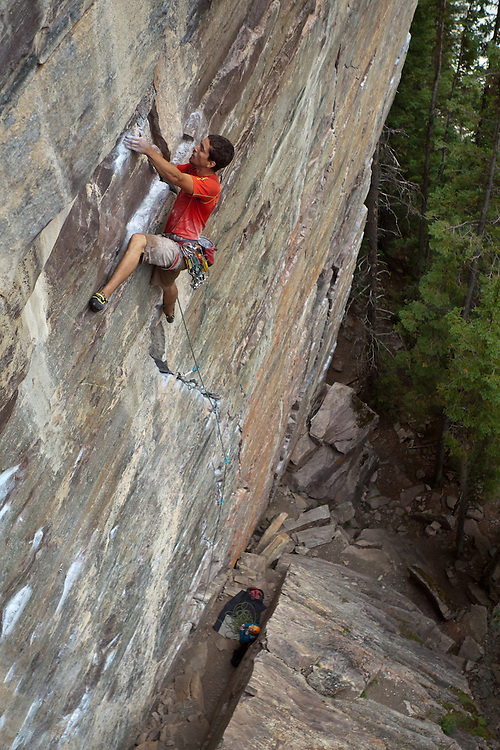 Rock Climbing - Sam Lambert on Scared Peaches 5.12a at Lake Louise