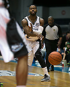 Jerice Crouch of the Razorsharks passes to a teammate during a game against the Carolina Vipers at the Blue Cross Arena on Saturday, December 6, 2014.