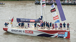 © Licensed to London News Pictures. 30/07/2016. London, UK. Yachts arrive in central London after completing the 40,000 nautical mile Clipper Round the World Race. Each of the twelve yachts have been crewed by amateurs led by a professional captain. The race was won this year by LMAX Exchange, skippered by Frenchman Olivier Cardin. Photo credit : Stephen Chung/LNP
