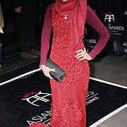 London,England,UK : 8th April 2016 : A stunning Hijab model attend the The Asian Awards 2016 at Grosvenor House Hotel, Park Lane, London. Photo by See Li