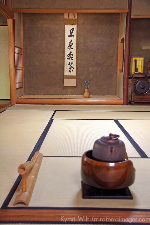 Asia, Japan, Kyoto. Tea set up for guests in a Japanese home.