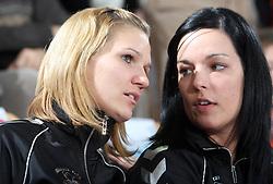 Neli Irman and Anja Argenti at EHF Champions league handball match in Group II between RK Krim Mercator and Gyori Audi Eto KC, on February 7, 2009, in Kodeljevo, Ljubljana, Slovenia. Gyori won 35:31. (Photo by Vid Ponikvar / Sportida)
