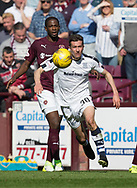 Dundee&rsquo;s Cammy Kerr and Hearts&rsquo; Arnaud Djoum - Hearts v Dundee in the Ladbrokes Scottish Premiership at Tynecastle, Edinburgh, Photo: David Young<br /> <br />  - &copy; David Young - www.davidyoungphoto.co.uk - email: davidyoungphoto@gmail.com