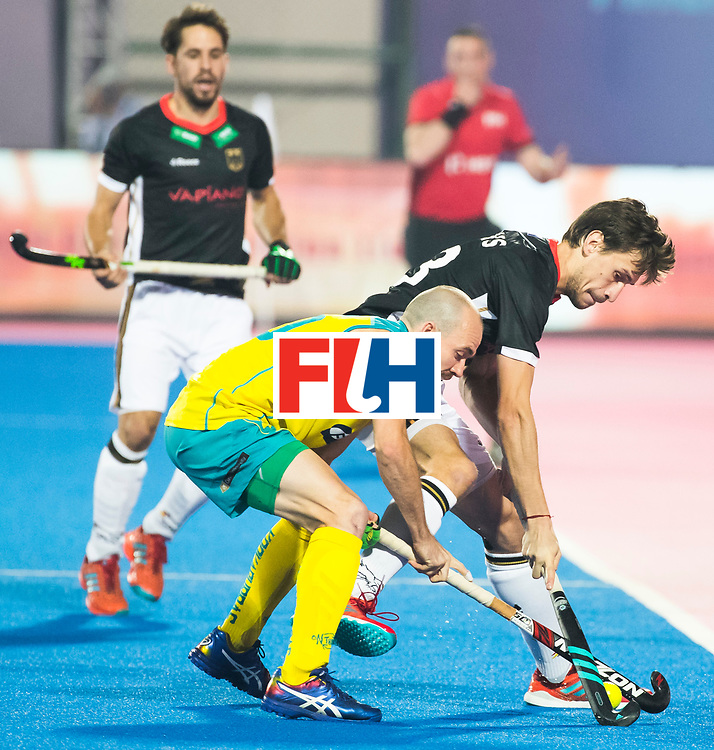 BHUBANESWAR - The Odisha Men's Hockey World League Final . Match ID 05 . Germany  v Australia . Matthew Swann (Aus) with Florian Fuchs (Ger) .  WORLDSPORTPICS COPYRIGHT  KOEN SUYK