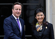 © Licensed to London News Pictures. 14/11/2012. Westminster, UK British Prime Minister David Cameron welcomes Prime Minister Yingluck of Thailand to Downing Street today 14 November 2012.. Photo credit : Stephen Simpson/LNP