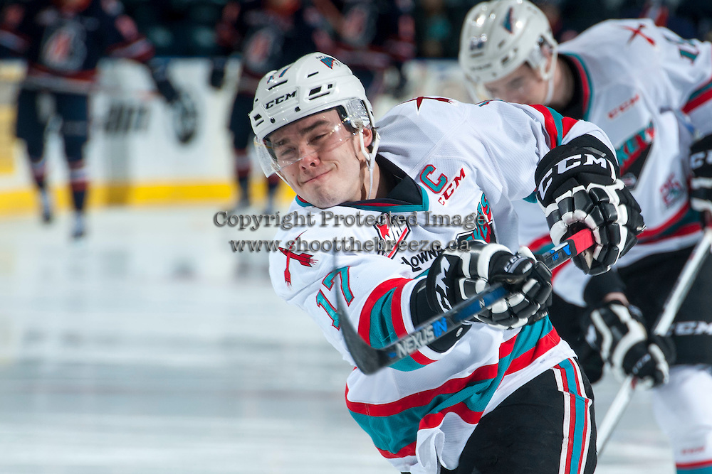 KELOWNA, CANADA - MARCH 5: Rodney Southam #17 of Kelowna Rockets warms up against the Kamloops Blazers on March 5, 2016 at Prospera Place in Kelowna, British Columbia, Canada.  (Photo by Marissa Baecker/Shoot the Breeze)  *** Local Caption *** Rodney Southam;