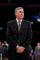 12 February 2013: Head coach Mike D'Antoni of the Los Angeles Lakers coaches during the Lakers 91-85 victory over the Phoenix Suns at the STAPLES Center in Los Angeles, CA.