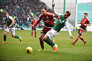 22 Andrew Shinnie forced off the ball by 22 Conrad Balatoni during the Scottish Cup quarter final match between Hibernian and Ayr United at Easter Road, Edinburgh, Scotland on 4 March 2017. Photo by Kevin Murray.