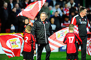 Rotherham United manager Neil Warnock walking on to the pitch for  the Sky Bet Championship match between Bristol City and Rotherham United at Ashton Gate, Bristol, England on 5 April 2016. Photo by Graham Hunt.