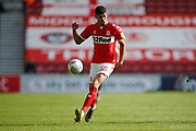 Middlesbrough forward Ashley Fletcher (18)  during the EFL Sky Bet Championship match between Middlesbrough and Stoke City at the Riverside Stadium, Middlesbrough, England on 19 April 2019.