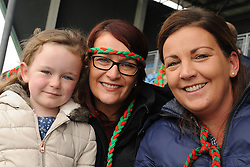 Kilmaine supporters Michela,  Mary O'Toole and Elaine O'Brien at McHale park on sunday last.<br />Pic Conor McKeown
