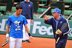 May 20, 2016 - Paris, France - Novak Djokovic (SRB).Marian Vajda (SRB).Boris Becker  (Credit Image: © Panoramic via ZUMA Press)