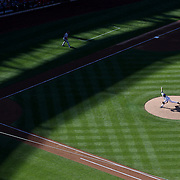 Pitcher Jacob deGrom, New York Mets, pitching to Pedro Severino, Washington Nationals, in the late afternoon sun during the New York Mets Vs Washington Nationals MLB regular season baseball game at Citi Field, Queens, New York. USA. 4th October 2015. Photo Tim Clayton