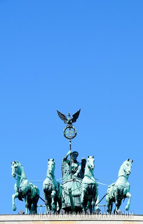 Quadriga statue of Roman Goddess of Victory Victoria atop Brandenburg Gate