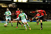 Goal - Ander Herrera (21) of Manchester United scores a goal to give a 0-2 lead to the away team during the The FA Cup 4th round match between Yeovil Town and Manchester United at Huish Park, Yeovil, England on 26 January 2018. Photo by Graham Hunt.