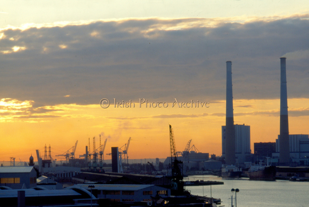 France, Normandy.  Le Havre.  Early morning view over harbour.