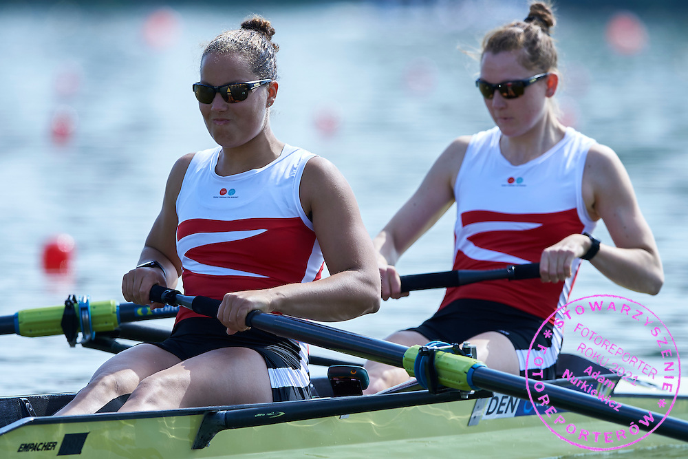 (bow) Anne Andersen and (stroke) Hedvig Rasmussen both of Denmark compete at Woman&rsquo;s Pair (W2-) during first day the 2015 European Rowing Championships on Malta Lake on May 29, 2015 in Poznan, Poland<br /> Poland, Poznan, May 29, 2015<br /> <br /> Picture also available in RAW (NEF) or TIFF format on special request.<br /> <br /> For editorial use only. Any commercial or promotional use requires permission.<br /> <br /> Mandatory credit:<br /> Photo by &copy; Adam Nurkiewicz / Mediasport