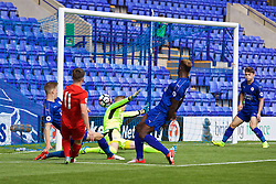 BIRKENHEAD, ENGLAND - Sunday, September 11, 2016: Liverpool's Ben Woodburn scores the first goal against Leicester City during the FA Premier League 2 Under-23 match at Prenton Park. (Pic by Concepcion Valadez/Propaganda)
