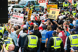 London, June 24th 2017. Anti-fascist protesters counter demonstrate against a march to Parliament by the far right anti-Islamist English Defence League. PICTURED: EDL protesters march towards Victoria Embankment.