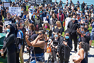 """""""March for Justice/Black Lives Matter"""" protest during the COVID-19 pandemic in May 2020 in Windsor, Ontario."""