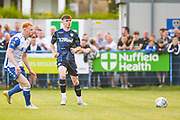 Leeds United defender Leif Davis (3) in action during the Pre-Season Friendly match between Guiseley  and Leeds United at Nethermoor Park, Guiseley, United Kingdom on 11 July 2019.