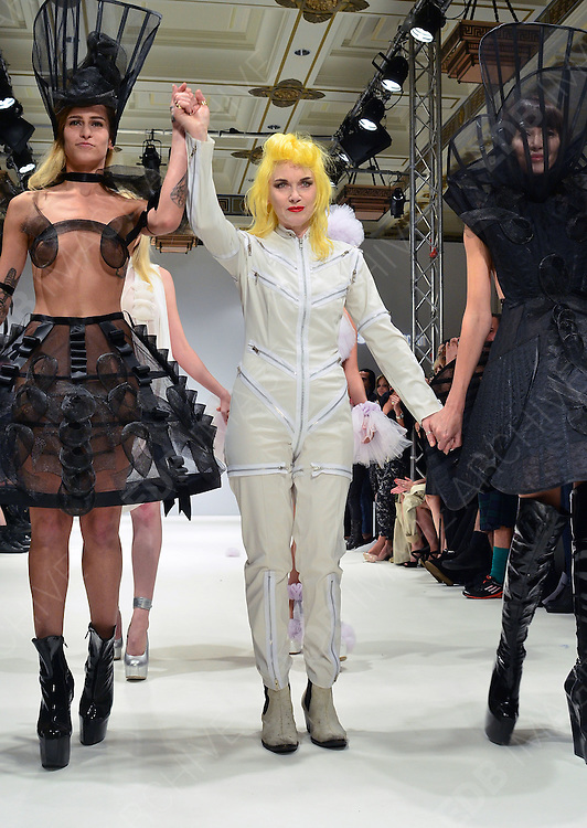 17.SEPTEMBER.2012. LONDON<br /> <br /> THE PAM HOGG CATWALK SHOW AT THE 2012 LONDON FASHION WEEK<br /> <br /> BYLINE: JOE ALVAREZ/EDBIMAGEARCHIVE.CO.UK<br /> <br /> *THIS IMAGE IS STRICTLY FOR UK NEWSPAPERS AND MAGAZINES ONLY*<br /> *FOR WORLD WIDE SALES AND WEB USE PLEASE CONTACT EDBIMAGEARCHIVE - 0208 954 5968*