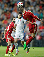 Spain's Juanfran Torres (l) and Gerard Pique (r) and Slovakia's Michal Duris during 15th UEFA European Championship Qualifying Round match. September 5,2015.(ALTERPHOTOS/Acero)