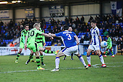 Forest Green Rovers Marcus Kelly(10) shoots at goal scores a goal 0-2 during the FA Trophy 2nd round match between Chester FC and Forest Green Rovers at the Deva Stadium, Chester, United Kingdom on 14 January 2017. Photo by Shane Healey.