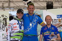 Medal ceremony of Masters 35-39 category: second placed Bostjan Felc (SLO), winner Andrej Sumbergar (SLO) and third placed Oscar Colombo (ITA) at MTB Downhill European Championships, on June 13, 2009, at Kranjska Gora, Slovenia. (Photo by Vid Ponikvar / Sportida)