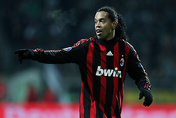 Ronaldinho in action during the UEFA Cup Round of 32 first leg match between Werder Bremen and AC Milan at the Weser stadium on February 18, 2009 in Bremen, Germany.