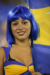 """The professional dancers """"Cheerleaders"""" of the famous Boca Juniors called """"Las Boquitas"""" amuse the crowd before the Libertadores Cup match played in Buenos Aires between Boca Juniors (Argentina) and River Plate (Argentina), Buenos Aires - Argentina..."""