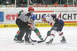 20.02.2015, Curt-Frenzel-Stadion, Augsburg, GER, DEL, Augsburger Panther vs EHC Red Bull München, 49. Runde, im Bild l-r: Bully, Louie Caporusso #23 (Augsburger Panther) und Alexander Barta #92 (EHC Red Bull Muenchen) // during Germans DEL Icehockey League 49th round match between Adler Mannheim and Grizzly Adams Wolfsburg at the Curt-Frenzel-Stadion in Augsburg, Germany on 2015/02/20. EXPA Pictures © 2015, PhotoCredit: EXPA/ Eibner-Pressefoto/ Kolbert<br /> <br /> *****ATTENTION - OUT of GER*****