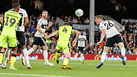 Football - 2018 / 2019 EFL Carabao Cup (League) Cup - Fulham vs. Exeter City<br /> <br /> Alfie Mawson (Fulham FC) goes close to scoring on his debut as he heads a set piece at Craven Cottage.<br /> <br /> COLORSPORT/DANIEL BEARHAM