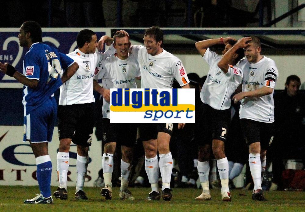 Photo: Daniel Hambury.<br />Luton Town v Cardiff City. Coca Cola Championship. 14/02/2006.<br />Luton's Rowen Vine (3rd left) celebrates his second goal with team mates.
