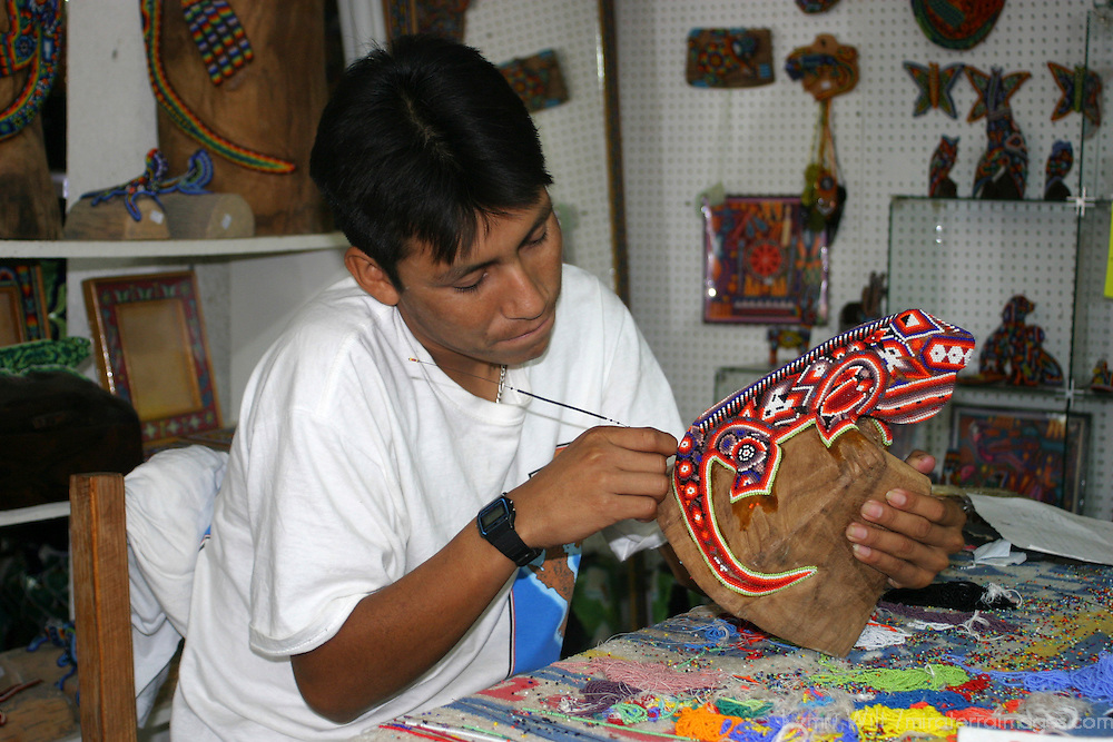 Mexico, Baja California Sur, Loreto. Bead artisan of Loreto.