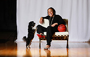 Columbia, SC- March 12, 2018: Coach Dawn Staley, of the South Carolina Gamecocks, is pictured with her dog Champ. Photographed at the Carolina Coliseum.<br /> <br /> Credit: Gerry Melendez for ESPN