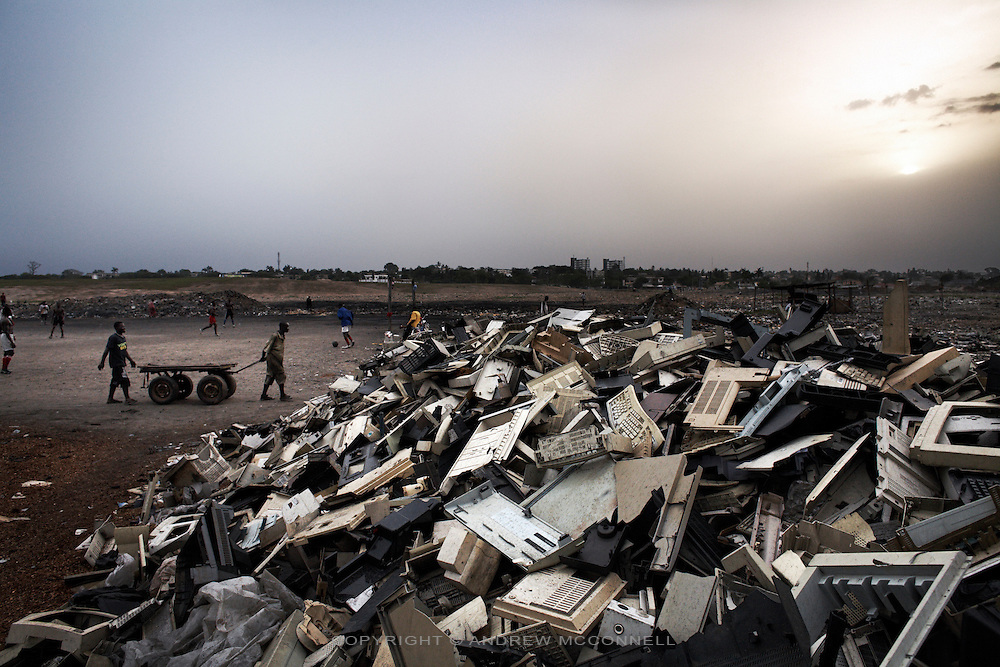Plastic from e-waste is piled high at Agbogbloshie dump, in Accra, Ghana.