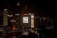 Pudong at night, Shanghai.<br /> Pudong la nuit, Shanghai.
