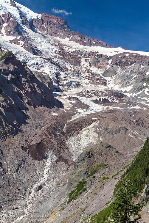 The terminus of the Nisqually Glacier on Mount Rainier in Mount Rainier National Park, Washington State, USA