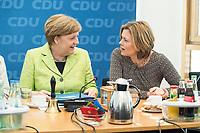 27 MAR 2016, BERLIN/GERMANY:<br /> Angela Merkel (L), CDU, Budneskanzlerin, und Julia Kloeckner (R), CDU Landesvorsitzender Rheinland-Pfalz, im Gespraech, vor Beginn einer Sitzung des Bundesvorstandes nach der Landtagswahl im Saarland, Konrad-Adenauer-aus<br /> IMAGE: 20170327-01-017<br /> KEYWORDS: Julia Kl&ouml;ckner, Gespr&auml;ch