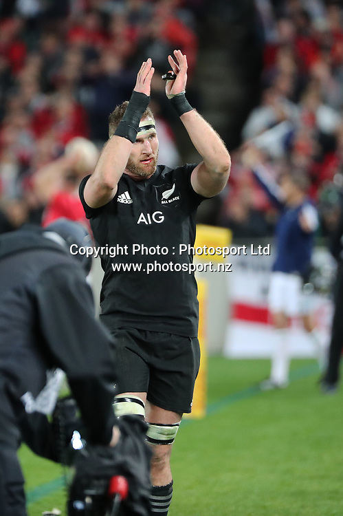 All Black Captain Kieran Read during the 30-15 All Black win in the first test match of the DHL Lions Series 2017 played between the All Blacks and the British and Irish Lions at Eden Park, Auckland on 24th June 2017. <br /> Copyright Photo; Peter Meecham/ www.photosport.nz