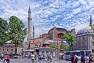 Street Scene with Hagia Sophia and other historic buildings in Istanbul, Turkey.