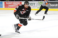 KELOWNA, CANADA, FEBRUARY 17: Victor Rask #23 of the Calgary Hitmen skates on the ice at the Kelowna Rockets on February 17, 2012 at Prospera Place in Kelowna, British Columbia, Canada (Photo by Marissa Baecker/Shoot the Breeze) *** Local Caption ***