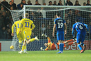 GOAL Joe Piggott scores an injury time winner 3-4 from the penalty spot during the EFL Sky Bet League 1 match between Rochdale and AFC Wimbledon at Spotland, Rochdale, England on 19 February 2019.
