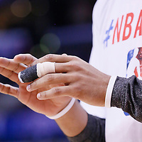 12 February 2014: Close view of Portland Trail Blazers small forward Nicolas Batum (88) injured finger prior to the Los Angeles Clippers 122-117 victory over the Portland Trail Blazers at the Staples Center, Los Angeles, California, USA.