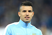 Sergio Agüero of Manchester City during the Champions League round of 16 match between Manchester City and Dynamo Kiev at the Etihad Stadium, Manchester, England on 15 March 2016. Photo by Simon Brady.