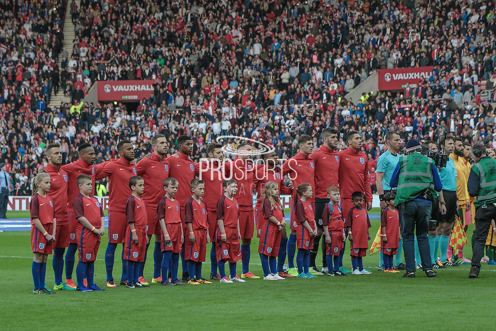 The England team line up before the game during the Friendly International match match between England and Australia at the Stadium Of Light, Sunderland, England on 27 May 2016. Photo by Mark P Doherty.