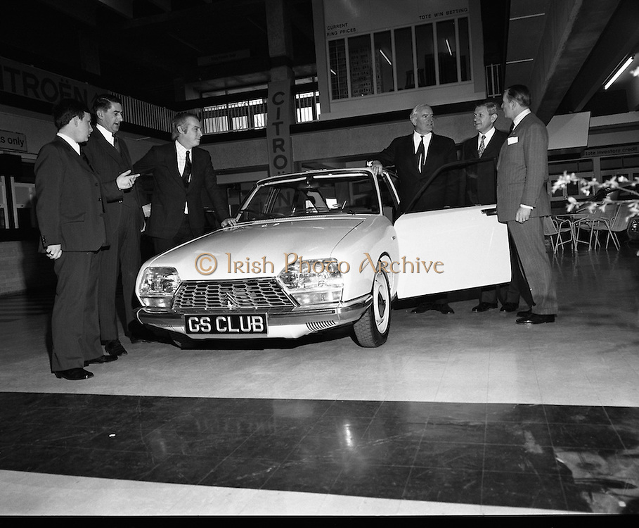Citroen Launch New Car Range..1973..28.03.1973..03.28.1973..28th March 1973..At a press reception in Leopardstown,Dublin, Citroen launched the 1973 range of new cars which will be available soon..Photographed at the reception at which Citroen Importers Irl Ltd launched  the new range of Citroen Cars were,.(L-R), Mr Paul Muldowney,Sales Manager, Citroen Importers (Ireland) ltd.,Mr John Wyse,Central Garage,Cork,Distributor, Mr Alain Khoundadze,Export Sales Manager, Citroen,Paris,France, Mr C G Ashenhurst, Chairman and Managing Director,Citroen Importers (Ireland) Mr M Ravenel,Chairman Citroen,France and the French Ambassador, Mr Emmanuel D'Harcourt.